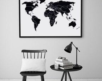 World map black print black map black map of the world wall map world map world map print map art map wall art gumiabroncs Choice Image