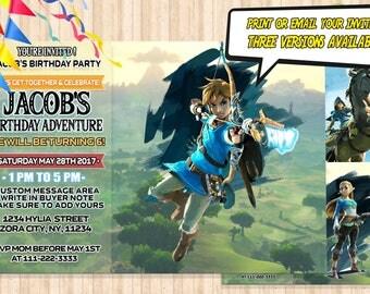 Zelda Birthday Invitation (DIGITAL), Link Birthday invitation, Zelda and Link Invitation, Zelda  Invite Cards, Printable