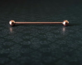 Rose Gold Industrial Barbell (14G)