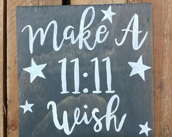 11:11 Make A Wish, Wood Sign, Make a wish, Nursery Sign, Custom , 8 X 8 , Sign for her , Sign for him, Baby Shower gift , Nursery Decor