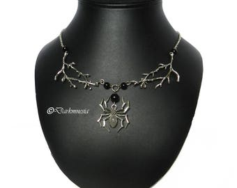 Necklace, onyx, spider, black, beads, branch, tree, pendant, goth, gothic, satanic