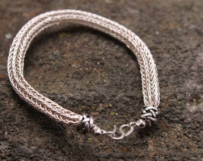 Viking Knit Sterling Silver Bracelet 9 inch or 22.5 cm Wire Weave Double Knit Celtic Design, Mens and Ladies Jewelry, Gift for Him or Her