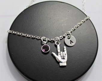 I Love You Sign Language Necklace - Love Sign Necklace - ASL I Love You - I Love You Hand Sign Necklace - ASL Gifts