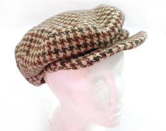 Vintage Donegal handwoven tweed hounds tooth newsboy hat, vintage wool hat, size medium