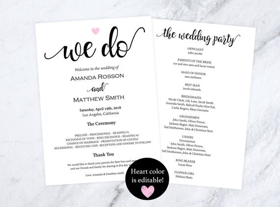Rustic wedding programs instant download - editable heart color - we do wedding programs - wedding ceremony program template #WDH812104