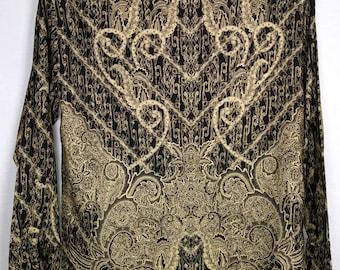 Vintage Indonesian Shirt, printed Batik, Black, Cream, Gold, Button Down