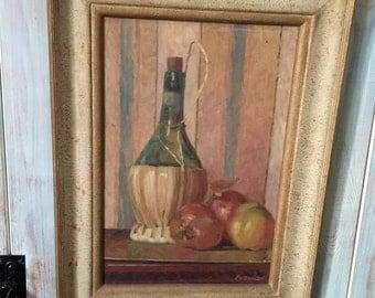 Very Decorative Framed Still Life Painting Oil on Board