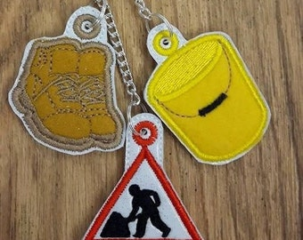 Digital File: 3 Ground workers zip pulls/Bag Charms. ITH. 4x4