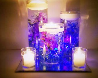 Wedding Centerpiece, Floating Candle Centerpiece, Purple Decor, Blue Decor, LED Centerpiece, Wedding Decor, Bridal Shower Decor, Baby Shower