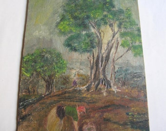 vintage oil painting, traditional life scene , signed