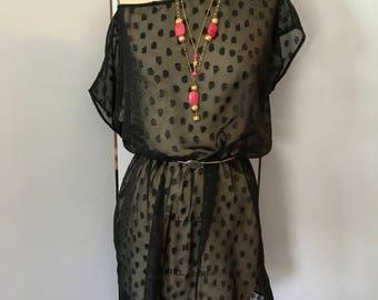 Sheer boxy tunic dress, FAB 208 NYC new design dress, boho tunic dress, off the shoulder oversized tunic
