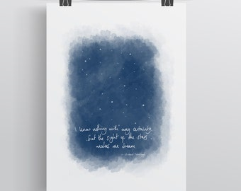"Vincent Van Gogh -"" But The Sight Of The Stars Makes Me Dream"". Literary Wall Art Print. Book Quote, Inspiration, Home Decor, Literary Gifts"