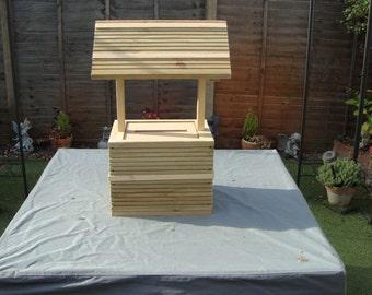 Wooden wedding wishing well unpainted free postage in uk