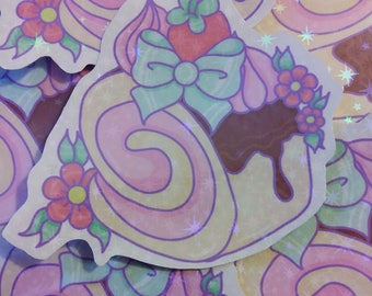 Sparkly Holographic Cake Roll Vinyl Sticker