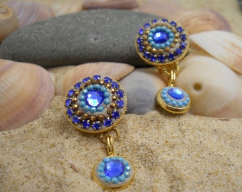 Round Multi Color Clip On Earring, Small Blue Crystal Earring, Vintage Dangle Clip on Earring, Non Pierced Turquoise Earring, Boho Long