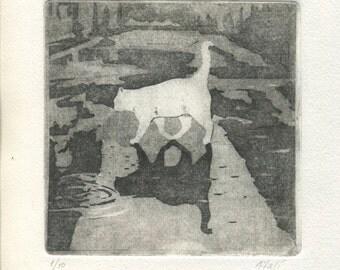 """Original Etching """" White Cat, Black Cat"""""""