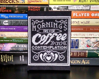 KIT, Mornings Are For Coffee and Contemplation Cross Stitch KIT, Cross Stitch Pattern, Stranger Things Cross Stitch, Coffee Cross Stitch
