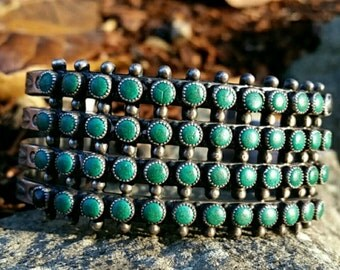 Vintage Native American 4 Row Snake eyes Green Turquoise Sterling Silver Bracelet