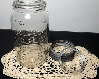 1929 Vintage Glass Mason / Canning Jar with Glass Lid ~ Dominion Crown