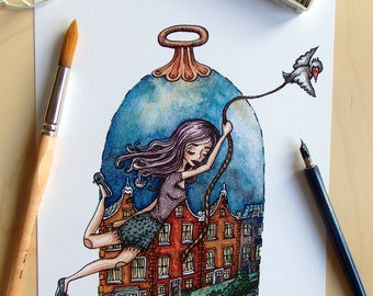 Worlds unknown - Art print of a Watercolour and Ink illustration of a girl exploring the world