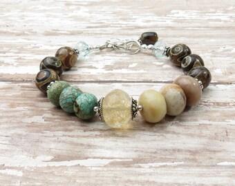 Western Turquoise Bracelet || Turquoise Bracelet || Rustic Bracelet || Country Chic Bracelet || Boho Bracelet ||