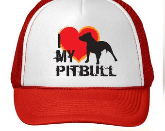 I Love My Pitbull Dog Trucker Hat