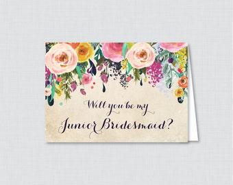 Printable Will You Be My Junior Bridesmaid Cards - Floral Will You Be My Junior Bridesmaid Card, Colorful Jr Bridesmaid Proposal 0003-A