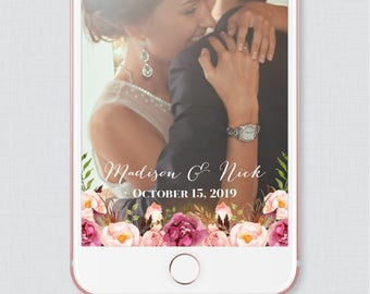 Pink Floral Wedding Snapchat Filter - Rustic Pink Flower and Calligraphy Snapchat Geofilter Image - Wedding Snapchat Filter 0004