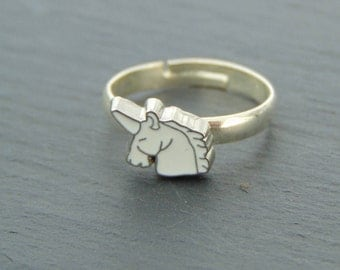 Unicorn Logo Silver Plated Ring