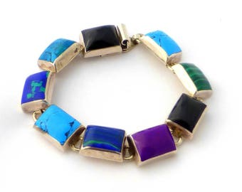 Taxco Sterling Silver Multi-Stone Bracelet from Mexico