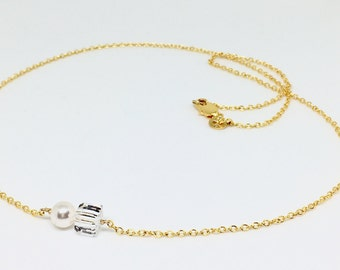 Floating Pearl Square Crystal Necklace, Single Pearl Square Crystal Necklace, Gold filled Pearl necklace