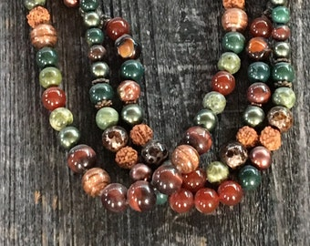 Three Strand Natural Gem stones and Vintage beaded necklace