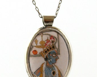 Handmade Pendant Necklace, North Indian Painting, 17th Century, Jewelry