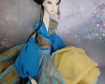 OOAK art doll Boudoir doll princess in blue Unique handmade doll Collectible doll made of polymer clay Original gift for her Home decor