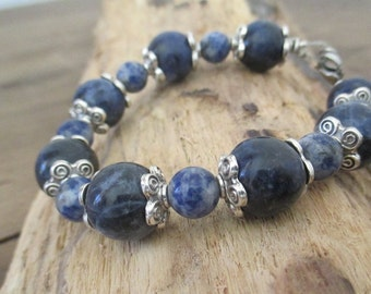 jewelry, Bracelet sodalite beads 12 and 8 mm.
