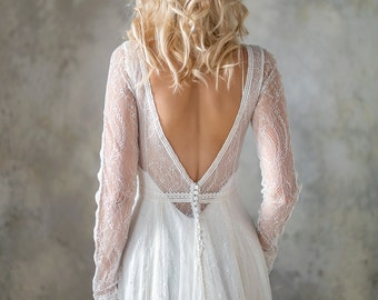 Long Sleeve boho wedding dress, bohemian wedding dress, lace wedding dress, backless wedding dress, boho bridal gown, bridal dress