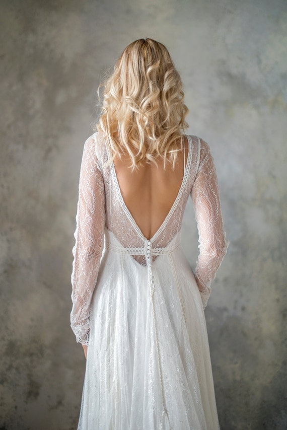 Long sleeve boho wedding dress bohemian wedding dress lace for Can i make my own wedding dress