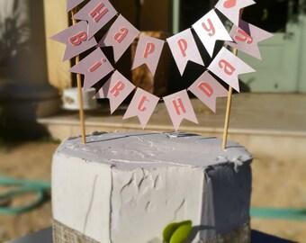 Happy Birthday Banner Cake Topper, Girls Pink Banner, Cake topper Mini bunting cake bunting banner Party decoration centerpiece