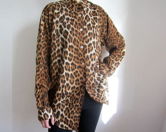 vintage Moschino leopard animal print oversize shirt IT46