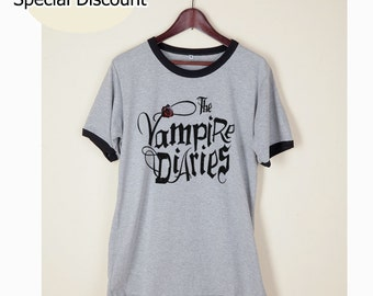 The Vampire Diaries Shirt Clothing Tshirt Tumblr Funny Wording Quote Light Gray and White