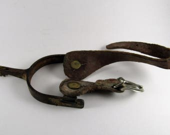 Antique Western Cowboy Spur with Leather Straps