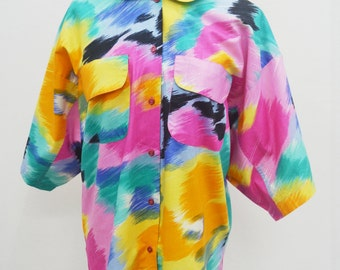 Vintage CRISIS Made In France Multicolor Oversized Button Down Blouse Size 44