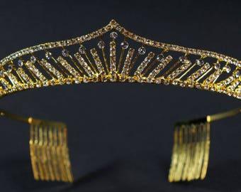 Rhinestone Bridal Tiara, Wedding Tiara, Crystal Bridal headpiece, Dramatic headpiece, Gold Tiara.