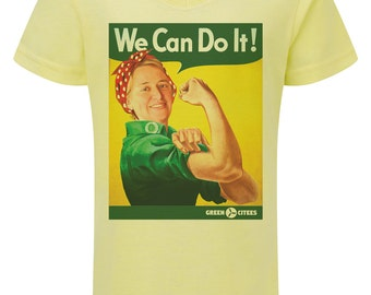 Natalie The Riveter Womens V-Neck Tshirt - We Can Do It