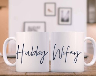 Coffee Mug/Coffee or Tea mugs/Hubby & Wifey Coffee Mugs/ 11 oz-15oz Coffee or Tea mugs/Wedding or Anniversary gift/15 colors to choose from