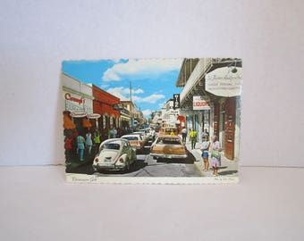 "Vintage Post Card of ST-THOMAS - Virgin Islands "" Dronningens Gade "" ( Main street ) 1971"