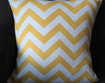 Yellow and white chevron pillow cover