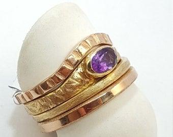Handmade 14k Stackable Oval Amethyst Ring Set