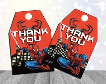 Spiderman party Supplies Spiderman Thank You Tags Spiderman party Favor