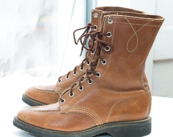 Lace Up Packer Boots Etsy
